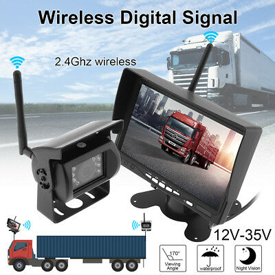 "7"" LCD Monitor + Wireless Rear View Backup Camera Night Vision For RV Truck Bus"