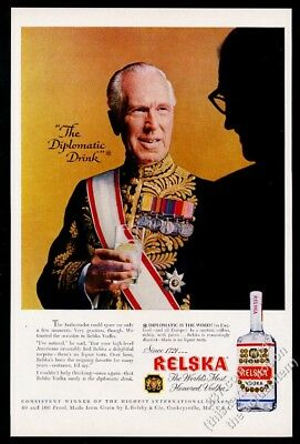 1957 Relska Vodka bottle photo The Diplomatic Drink vintage print ad