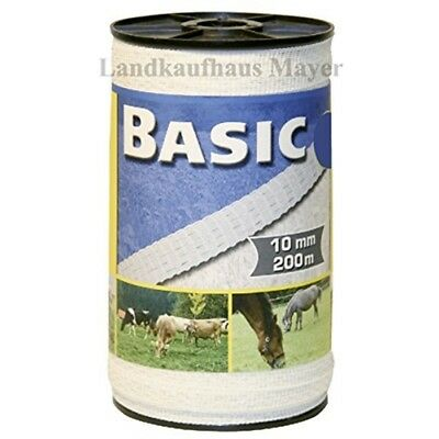 Basic Fencing Tape White 200m x 10mm - Corral Horse Electric Equine