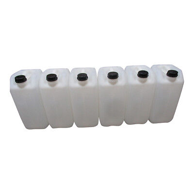 6 X 25 Litre 25L 25000Ml New Plastic Bottle Jerry Can Water Container Carrier