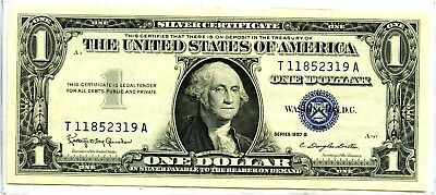 Impressive 1957-B United States $1 Silver Certificate Currency Note EA57