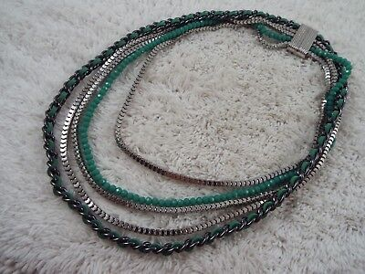 Silvertone Gunmetal Teal Bead Multi Strand Necklace (C48)