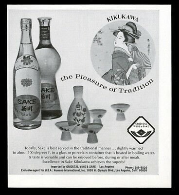 1969 Kikukawa sake 2 bottle photo vintage print ad