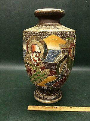 Antique Japanese Satsuma Vase Moriage Gold Raised Enamel ~ Used to Be Lamp