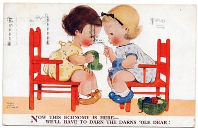 1932 MABEL LUCIE ATTWELL  We'll Darn the Darns 'Ole dear   No 2034 Postcard