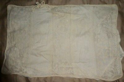 Antique French Voile Embroidered Net Belgium Lace Rectangular Bridal Pillow Case