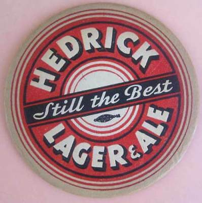 HEDRICK LAGER & ALE, STILL THE BEST 1940s Beer COASTER, Mat, Albany, NEW YORK