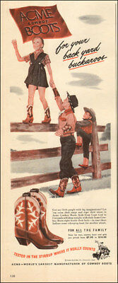 1940s vintage AD ACME Kid's Cowboy Boots Boys and girls ( I had a pair!) 123117