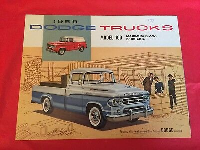 "1959 Dodge ""Trucks---Model 100"" Truck Dealer Sales Brochure"