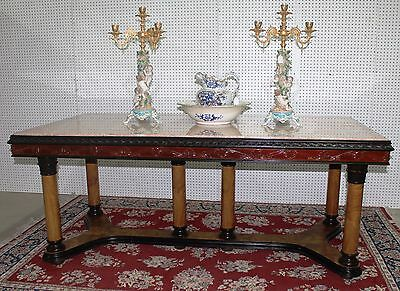 Antique French Neoclassical Marble Top Table / Desk  Column Base Circa 1890