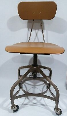 Vintage Toledo Metal Furniture Uhl Drafting Stool MCM Mid-Century Plastic Seat