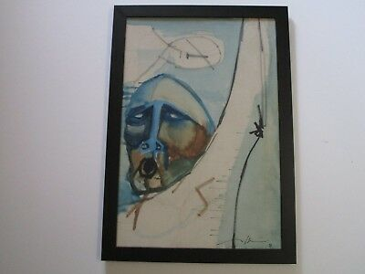 Mystery Artist Signed Painting Figure Face Head Abstract Vintage  Expressionism