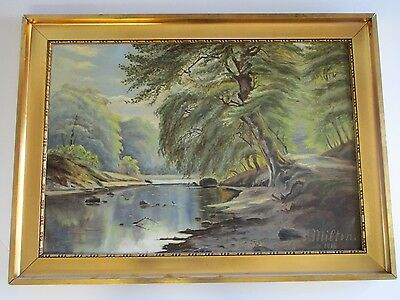 Antique Milton Signed Painting Large 19Th To 20Th Century Landscape Estate Size