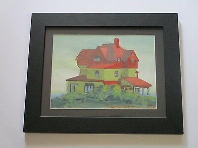 Antique  Painting Signed Mystery Artist Dated 1930's Regionalism Modernism Vntg