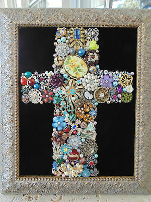 Vintage Jewelry  FRAMED Christmas Tree CROSS ~YELLOW CAMEO ROSES~