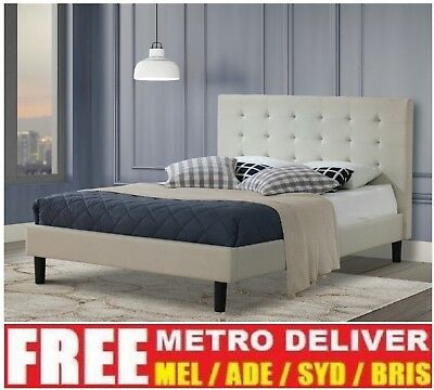 Alexis Wilt Single Double Queen King Grey Charcoal Beige Fabric Bed Frame Base