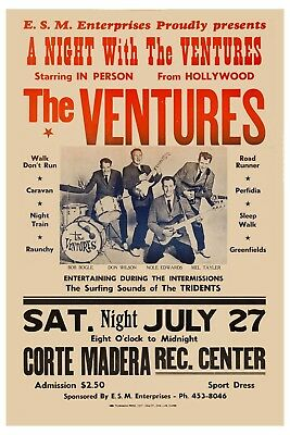 Surf: The VENTURES at Hollywood Ca. Rare Concert Poster 1963 13x19