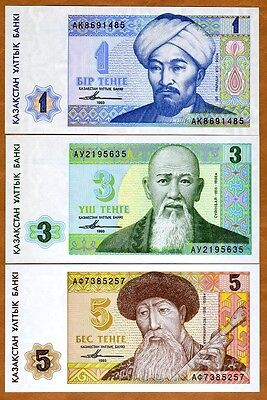 SET Kazakhstan, 1;3;5 tenge, 1993 Picks 7-8-9, FIRST INDEPENDENT ISSUE, UNC