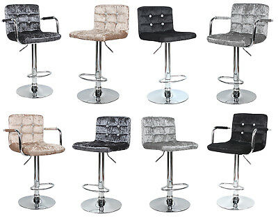 Diamante Crushed Velvet Bar Stool Swivel Foot Rest Chair Kitchen Breakfast Seat