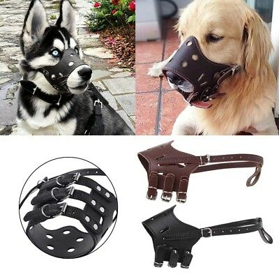 Adjustable PU Leather Dog Muzzles Anti Bark Bite Pet Outdoor Mask Mouth Cover