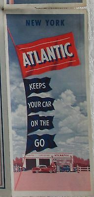 1950s Atlantic Refining Co advertising foldout road map of New York