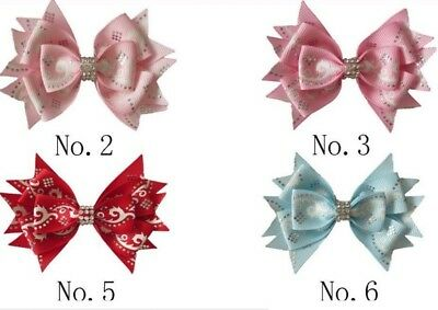 """30 BLESSING Good Girl Boutique 3.5"""" Silver Wave Stylish Hair Bow Clip"""