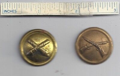 Lot of 2 Diff Indian Wars US Army INFANTRY & ARTILLERY Hat Button Badge Insignia