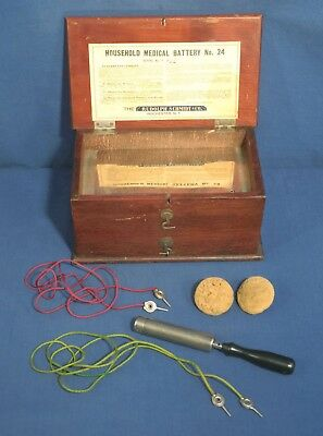Antique Household Medical Battery Electro Therapy Quack Instrument Orig Wood Box