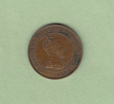 1909 Canadian Large One Cent Coin - EF