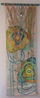 Long Large Mid Century Tapestry Fabric Abstract Wall Hanging Sculpture Painting