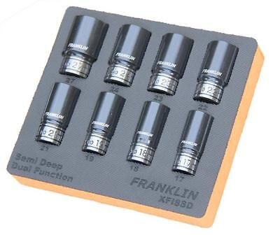 "Franklin Tools XFI8SD XF 8pc 6pt Semi Deep Thin Wall Impact Socket Set 1/2"" Dr"