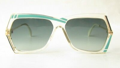 UNWORN NOS VINTAGE 80s CAZAL W.GERMANY CLEAR WHITE TURQUOISE GOLD SUNGLASSES 183