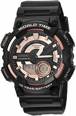 Casio AEQ110W-1A3V Men's World Time Telememo Analog Digital Alarm Chrono Watch