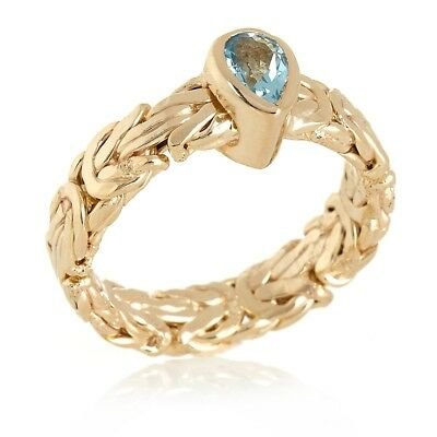 Size 8 Pear Shape Natural Blue Topaz Byzantine Band Ring Real 14K Yellow Gold