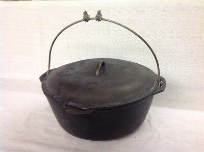 "Vintage Antique Cast Iron 12"" Large No. 10 Dutch Oven W/ Lid & Handle"