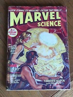 Marvel Science Stories - UK reprint pulp magazine - John Wyndham early story !