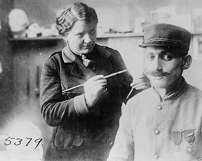 Disfigured French Soldier receiving face mask New World War I WWI 8x10 Photo