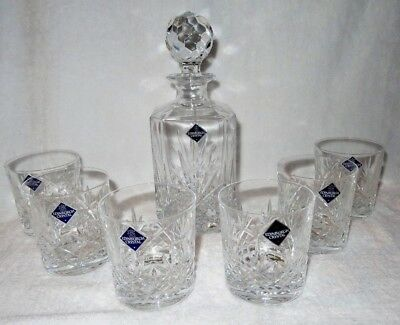 Edinburgh Crystal Glass Berkeley Decanter & 6 Whiskey Tumblers Set