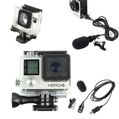 Side Open Skeleton Housing Case + 6.5' External Microphone for GoPro Hero 3 3+ 4
