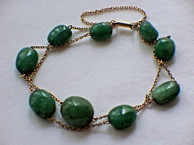 Antique 15Ct Gold Green Jade Hard Stone Ladies Bracelet