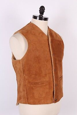Vtg Schott Rancher Suede Leather Western Vest Usa Mens Size Large