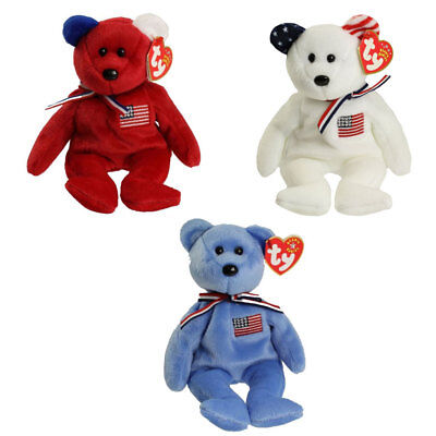 TY Beanie Babies - AMERICA Bears (Set of 3 Colors - Red, White & Blue)(8.5 inch)