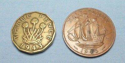 Great Britain 1943 3 Pence KM 849 and a 1943 Half Penny KM 844 - Two Coins