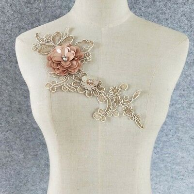 Venice Lace polyester golden embroidery applique sewing lace collar accessory