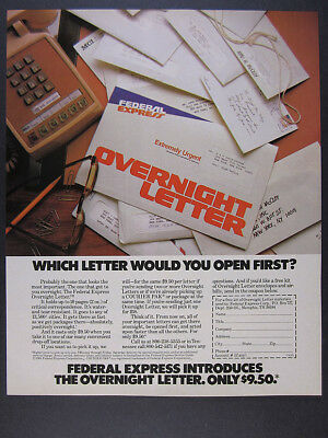 1981 FedEx Federal Express Overnight Letter 'Introducing' vintage print Ad