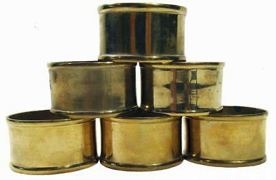 Napkin Rings Holders Oval Solid Brass Set of 6 Vintage 90s