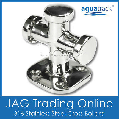 AQUATRACK 316 STAINLESS STEEL CROSS BOLLARD STRAIGHT -Boat/Anchor/Mooring/Marine