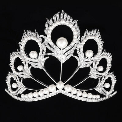 Miss Universe Tiara Crown Adjustable Pearl Wedding Bridal Tiaras Beauty Pageant