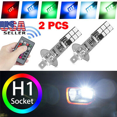 2x LED Auto Car Headlight Fog Bulb Lamp Light Remote Control H1 5050 RGB 12SMD