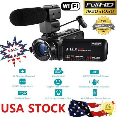 Andoer WiFi FULL HD IPS 1080P 24MP Digital Video Camera DV Camcorder &Microphone